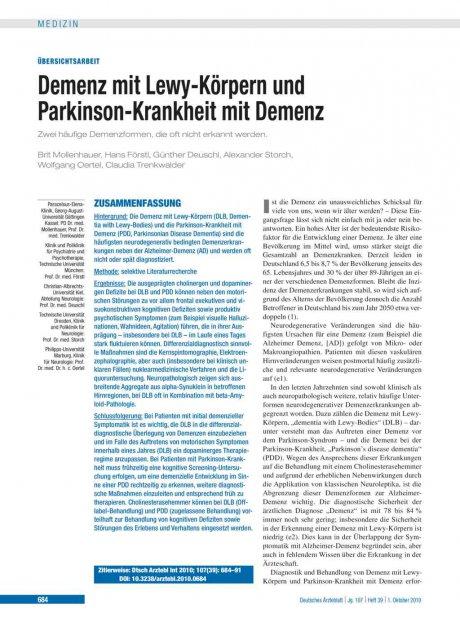 Demenz mit Lewy-Körpern und Parkinson-Krankheit...