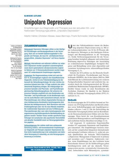Unipolare Depression