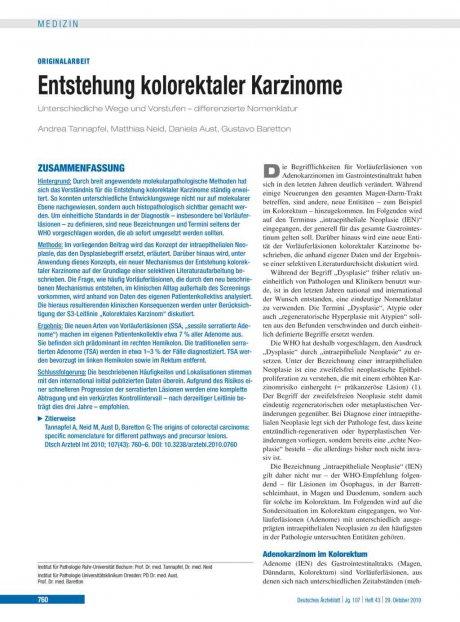 Entstehung kolorektaler Karzinome