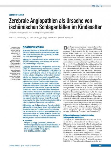 Zerebrale Angiopathien als Ursache von ischämischen Schlaganfällen im Kindesalter