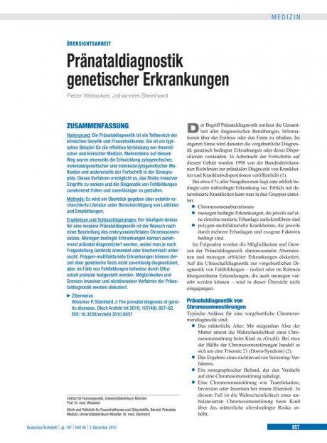 Pränataldiagnostik genetischer Erkrankungen