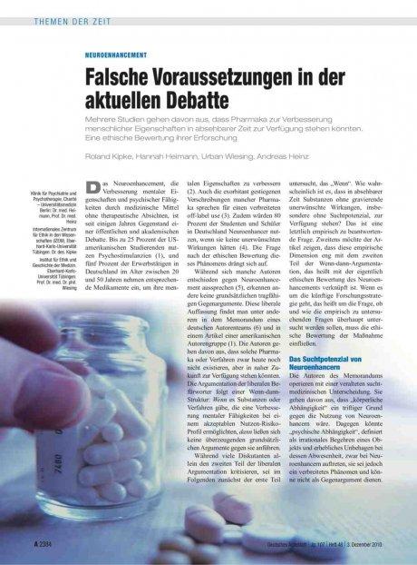 Neuroenhancement: Falsche Voraussetzungen in der aktuellen Debatte