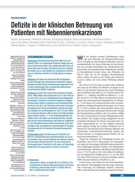 Defizite in der klinischen Betreuung von Patienten...