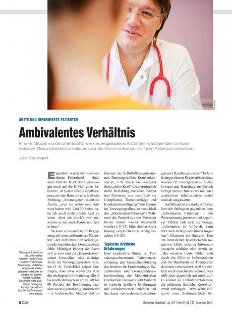 Ärzte und informierte Patienten: Ambivalentes Verhältnis