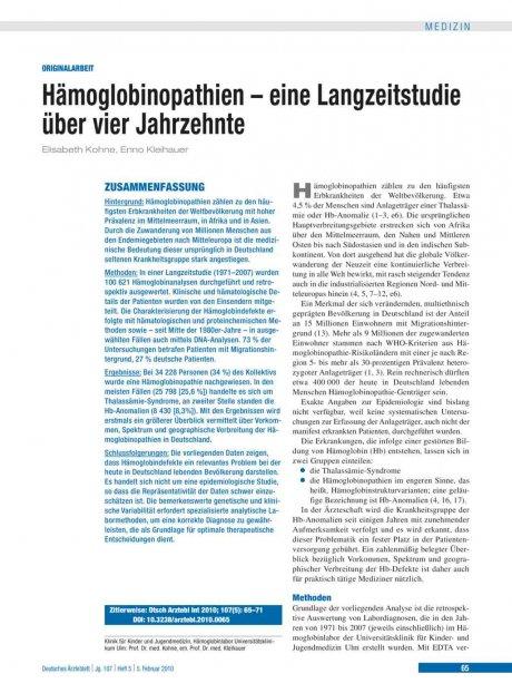 Hämoglobinopathien – eine Langzeitstudie über vier...