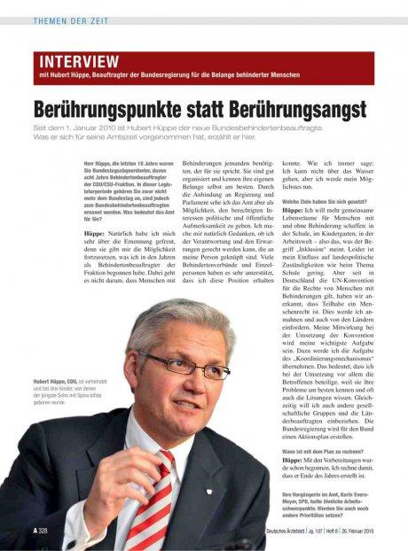 Interview mit Hubert Hüppe, Beauftragter der...