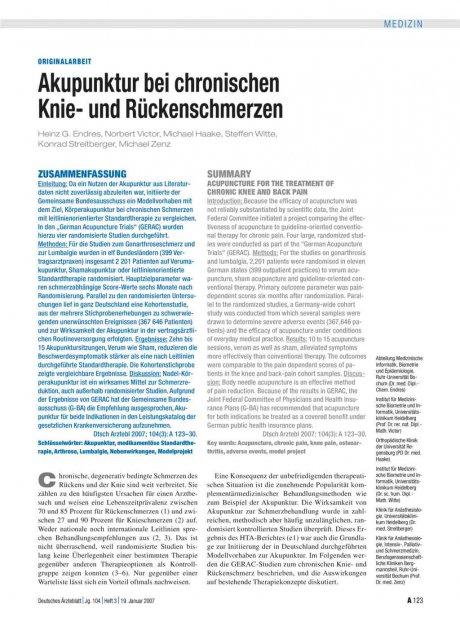 Akupunktur bei chronischen Knie- und...