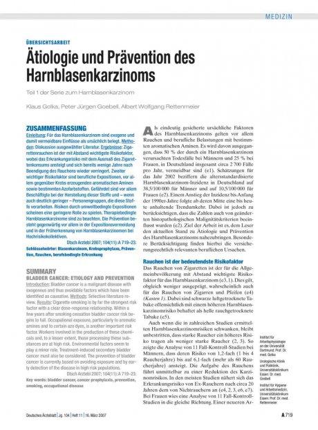 Ätiologie und Prävention des Harnblasenkarzinoms