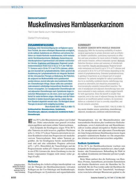 Muskelinvasives Harnblasenkarzinom