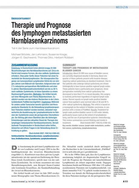 Therapie und Prognose des lymphogen metastasierten...