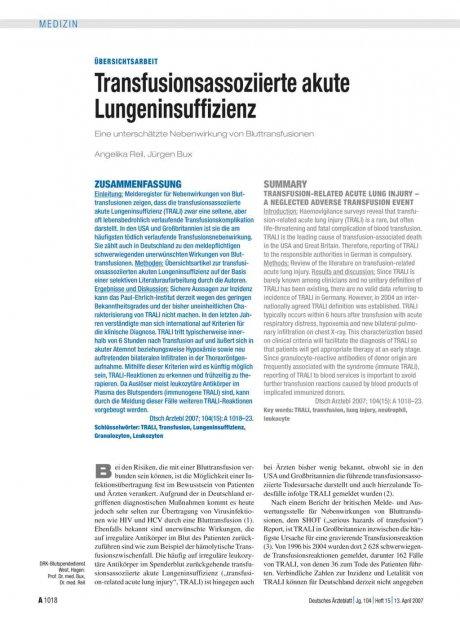 Transfusionsassoziierte akute Lungeninsuffizienz