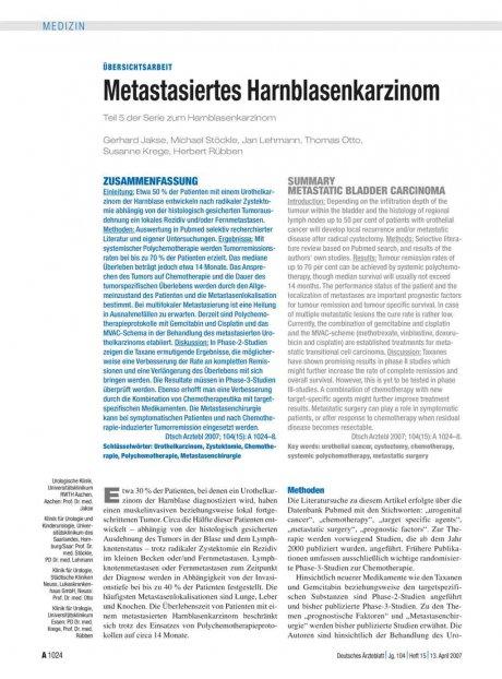 Metastasiertes Harnblasenkarzinom