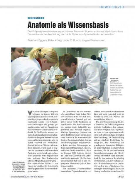 Medizinstudium: Anatomie als Wissensbasis