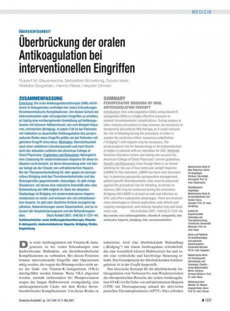 Überbrückung der oralen Antikoagulation bei...