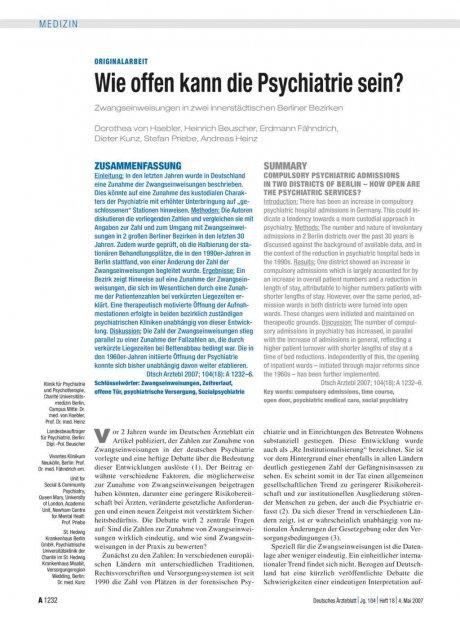 Wie offen kann die Psychiatrie sein?...