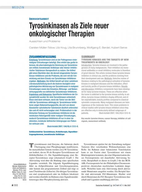 Tyrosinkinasen als Ziele neuer onkologischer...