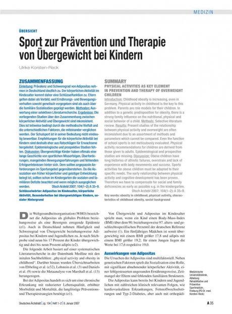 Sport zur Prävention und Therapie von Übergewicht...
