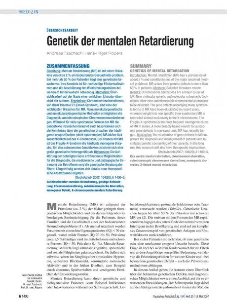 Genetik der mentalen Retardierung