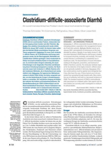 Clostridium-difficile-assoziierte Diarrhö