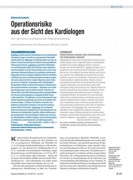 Operationsrisiko aus der Sicht des Kardiologen