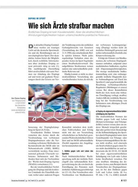 Doping im Sport: Wie sich Ärzte strafbar machen