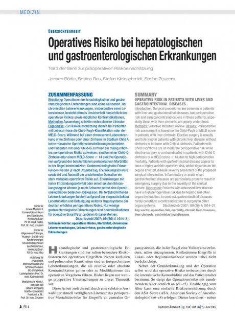 Operatives Risiko bei hepatologischen und...