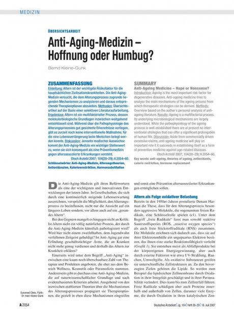 Anti-Aging-Medizin – Hoffnung oder Humbug?