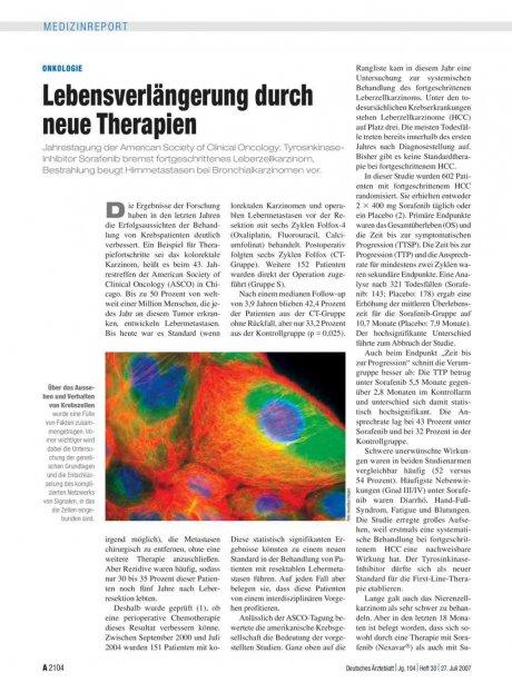 Onkologie: Lebensverlängerung durch neue Therapien