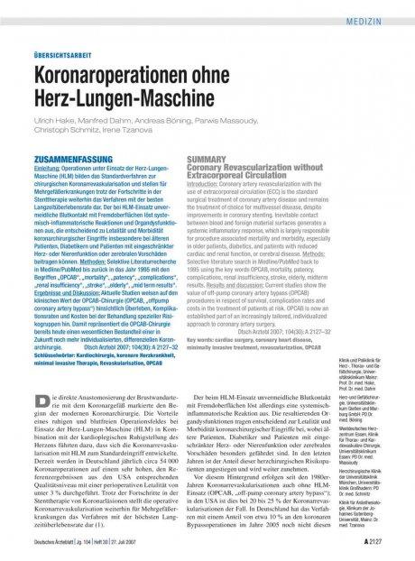 Koronaroperationen ohne Herz-Lungen-Maschine