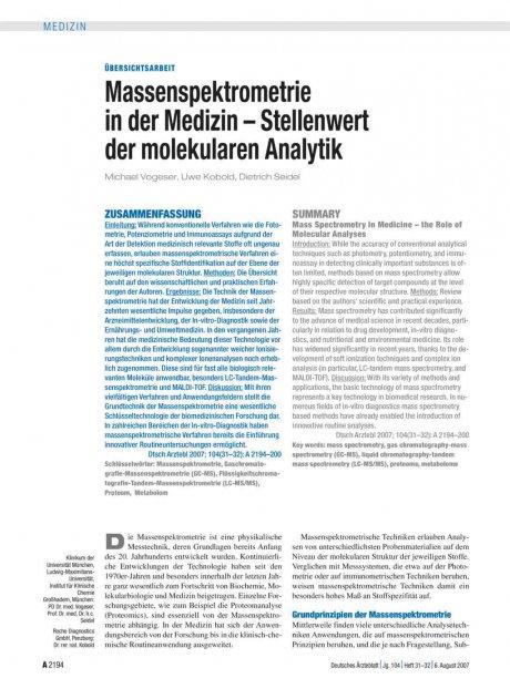 Massenspektrometrie in der Medizin – Stellenwert...
