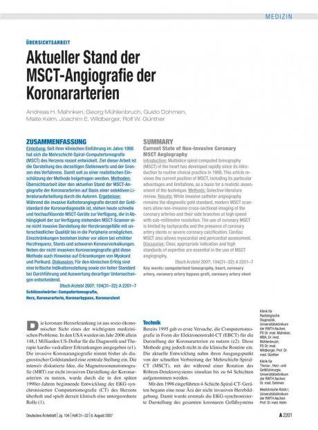 Aktueller Stand der MSCT-Angiografie der...