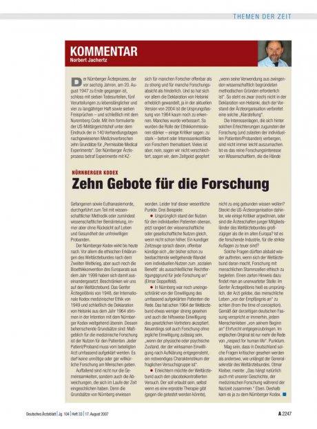 Nürnberger Kodex: Zehn Gebote für die Forschung