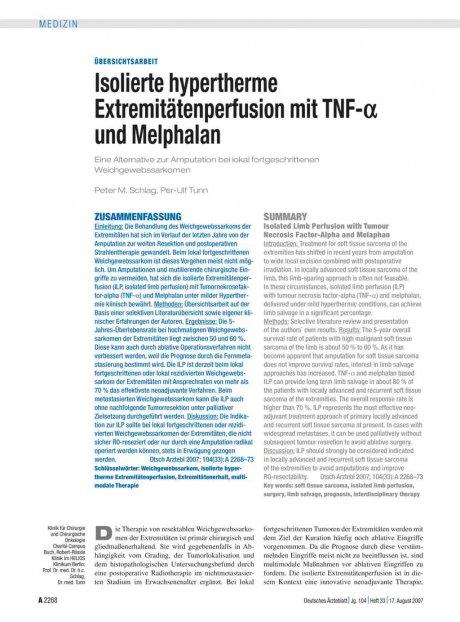 Isolierte hypertherme Extremitätenperfusion mit...