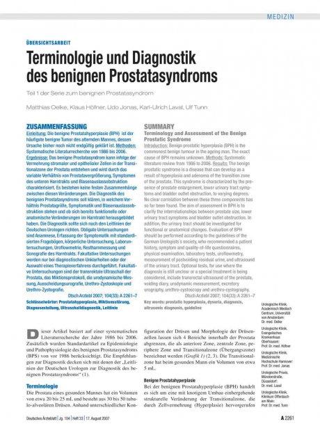 Terminologie und Diagnostik des benignen...