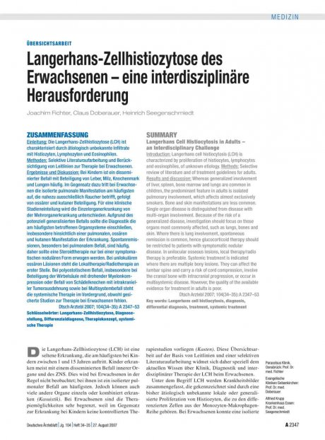 Langerhans-Zellhistiozytose des Erwachsenen – eine...