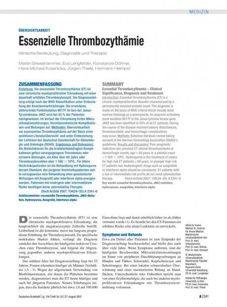 Essenzielle Thrombozythämie