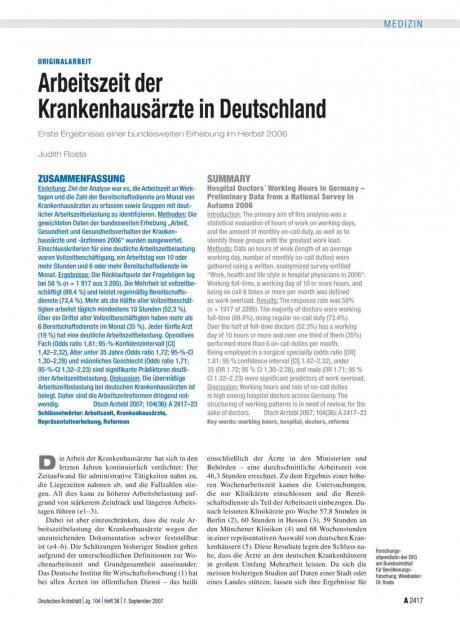 Arbeitszeit der Krankenhausärzte in Deutschland