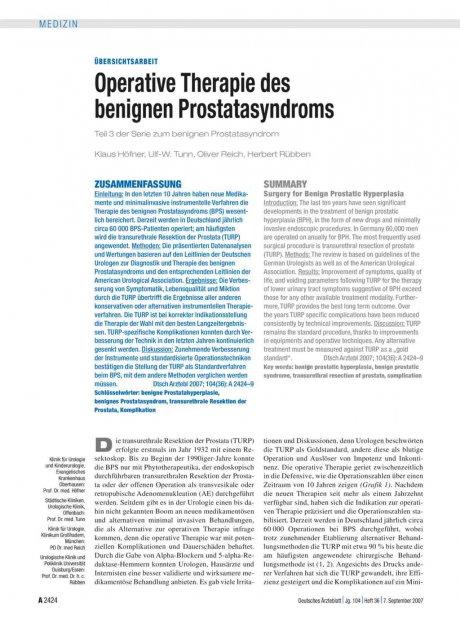 Operative Therapie des benignen Prostatasyndroms