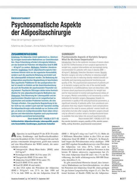 Psychosomatische Aspekte der Adipositaschirurgie