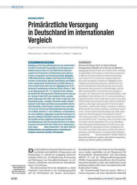 Primärärztliche Versorgung in Deutschland im...