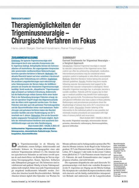 Therapiemöglichkeiten der Trigeminusneuralgie –...