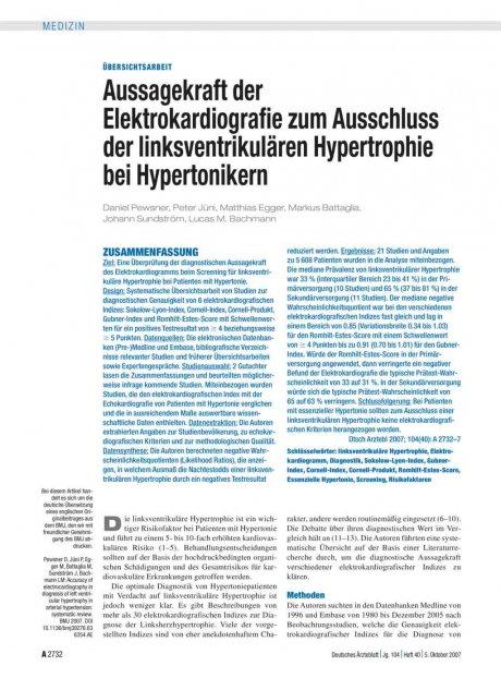 Aussagekraft der Elektrokardiografie zum...