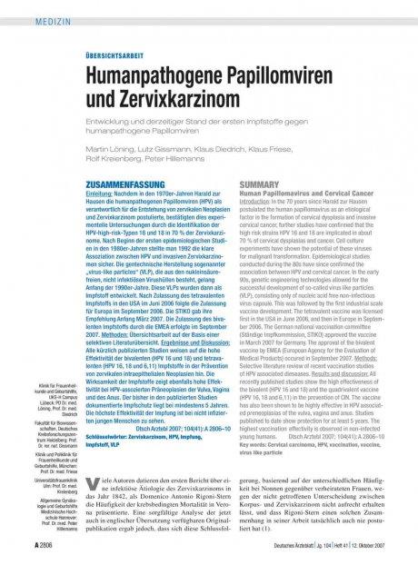 Humanpathogene Papillomviren und Zervixkarzinom