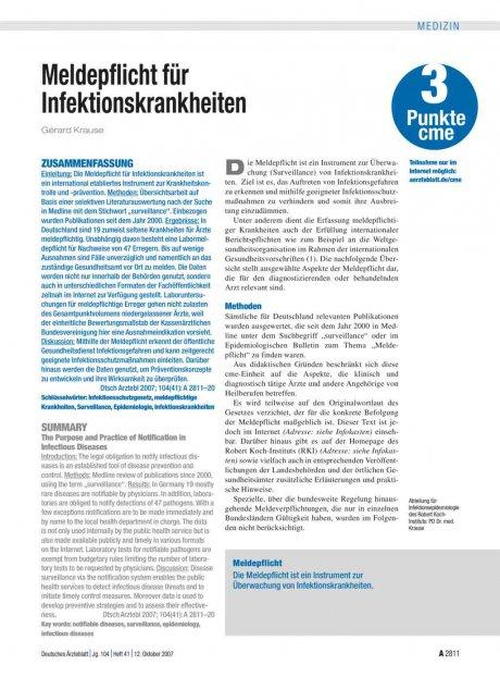 Meldepflicht für Infektionskrankheiten