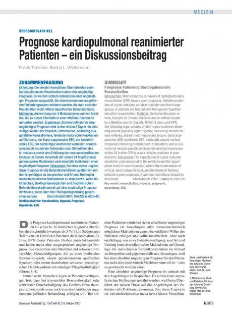 Prognose kardiopulmonal reanimierter Patienten –...