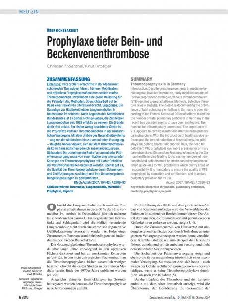 Prophylaxe tiefer Bein- und Beckenvenenthrombose