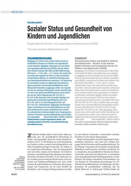 Sozialer Status und Gesundheit von Kindern und...