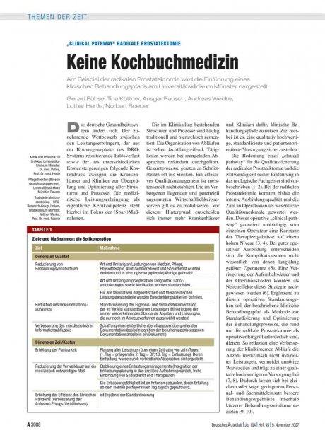 """Clinical Pathway"" Radikale Prostatektomie"