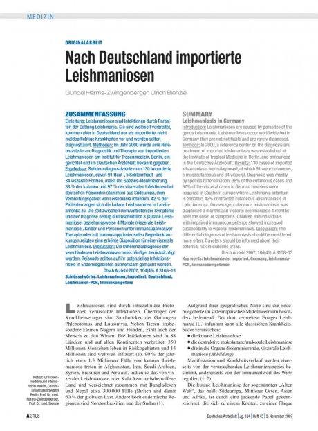 Nach Deutschland importierte Leishmaniosen