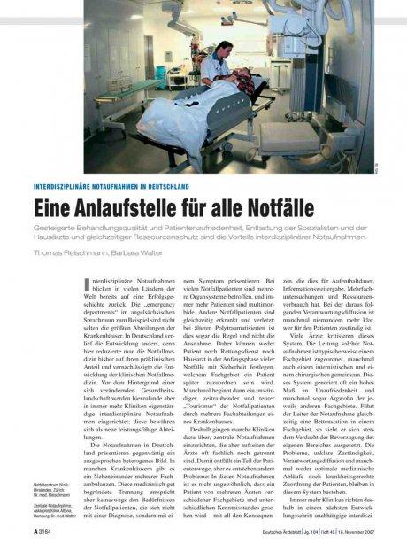Interdisziplinäre Notaufnahmen in Deutschland
